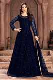 Navy Blue Designer Heavy Embroidered Net Wedding Anarkali Suit-Saira's Boutique