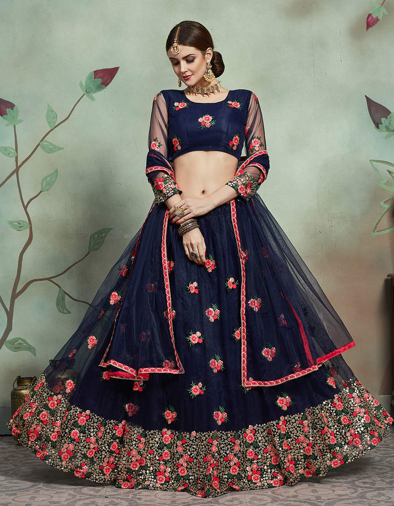Navy Blue Designer Heavy Embroidered Net Wedding Lehenga Choli-Saira's Boutique