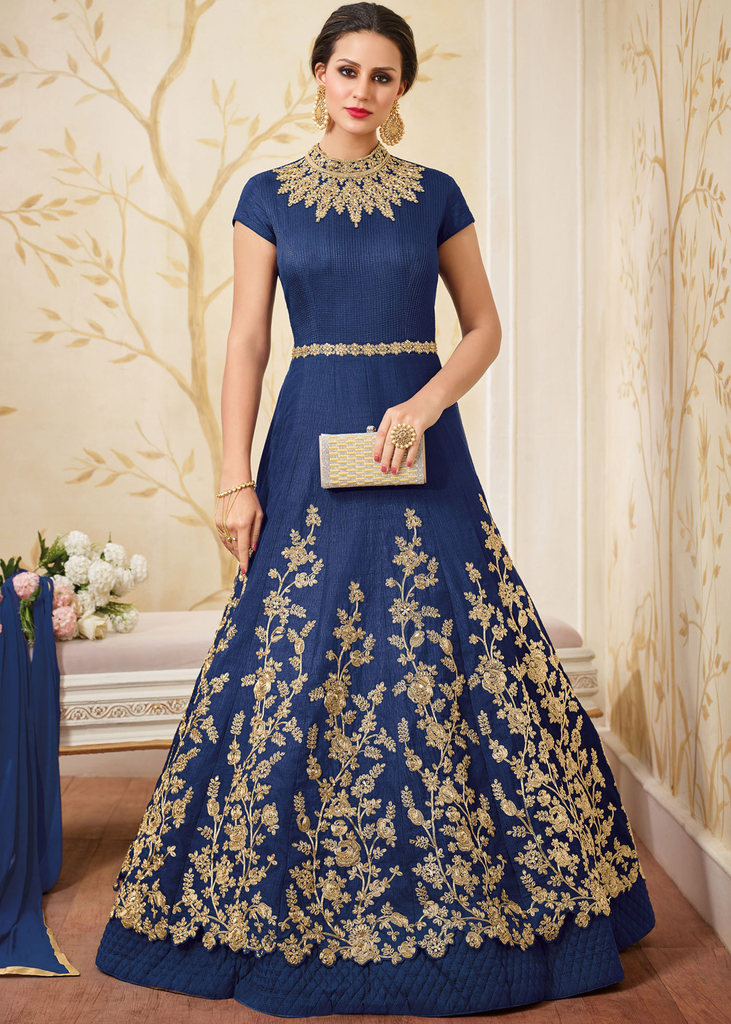 Navy Blue Designer Heavy Embroidered Silk Evening Gown-Saira's Boutique