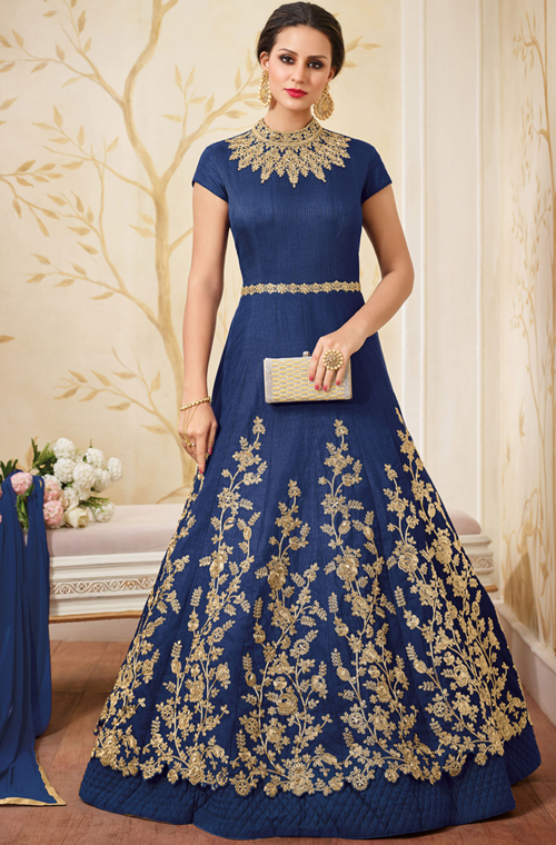 Navy Blue Designer Heavy Embroidered Silk Evening Gown – Saira\'s ...