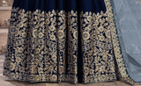 Navy Blue Designer Heavy Embroidered Silk Wedding Anarkali Suit-Saira's Boutique