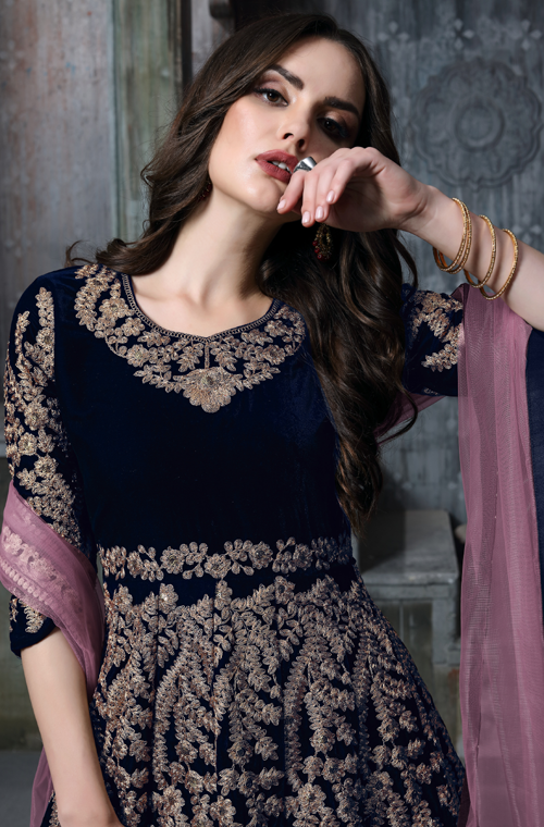 Navy Blue Designer Heavy Embroidered Velvet Wedding Anarkali Suit-Saira's Boutique