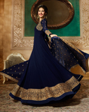 Navy Blue & Gold Designer Embroidered Georgette Party Wear Anarkali Suit-Saira's Boutique