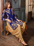 Navy Blue & Gold Designer Embroidered Silk Patiala Suit-Saira's Boutique