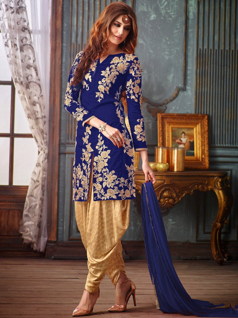 Navy Blue & Gold Designer Embroidered Silk Patiala Suit