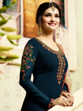 Navy Blue & Light Beige Georgette Designer Embroidered Churidar Suit-Saira's Boutique