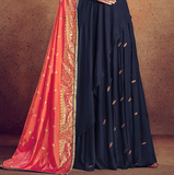 Navy Blue & Orange Designer Embroidered Readymade Rayon Anarkali Suit-Saira's Boutique