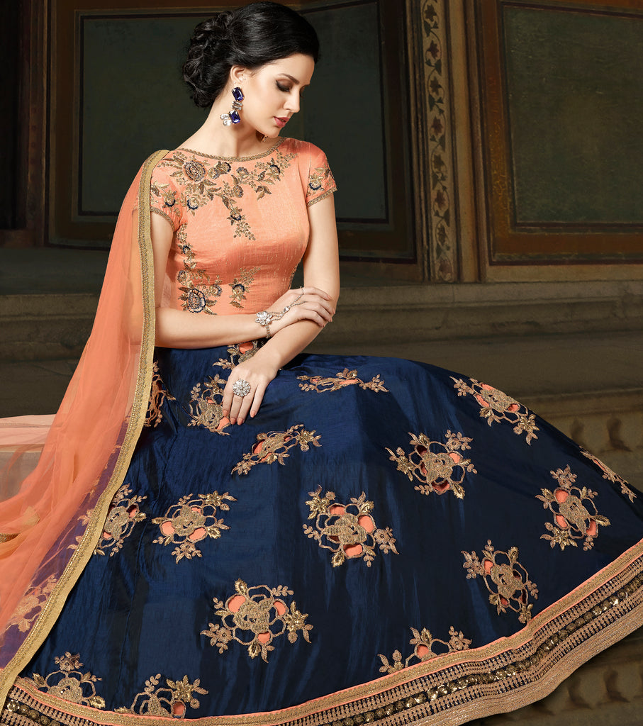 Navy Blue & Peach Designer Embroidered Silk Anarkali Gown