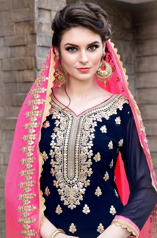 Navy Blue & Pink Designer Heavy Embroidered Georgette Wedding Gharara Suit