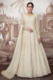 Off White Designer Embroidered Wedding Anarkali Suit-Saira's Boutique