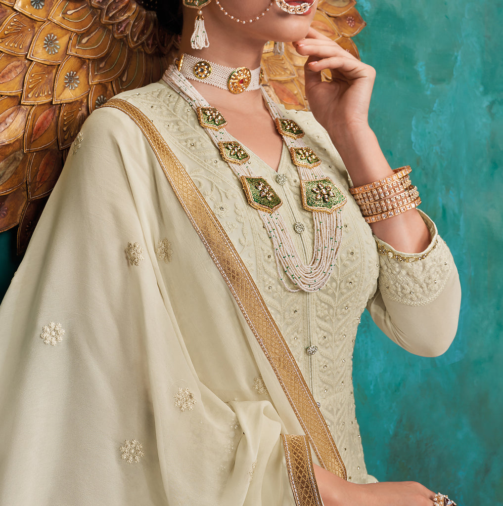 Off White Designer Heavy Embroidered Georgette Anarkali Suit-Saira's Boutique