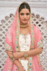 Off White & Pink Designer Embroidered Mirror Work Wedding Lehenga-Saira's Boutique