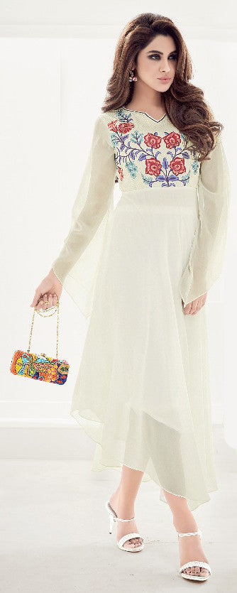 Off White Designer Embroidered Georgette Kurti