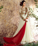 Off White Designer Embroidered Georgette Net Anarkali Suit