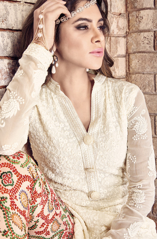 Off White Designer Embroidered Georgette Suit