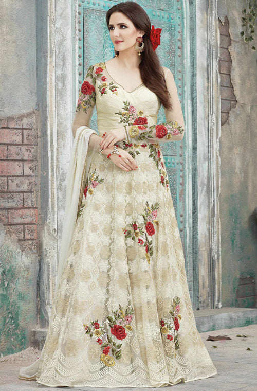 203272784a Off White Designer Heavy Embroidered Net Anarkali Suit – Saira's ...