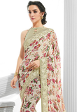 Off White & Light Gray Designer Floral Print Georgette Saree-Saira's Boutique