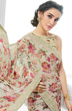 Off White & Light Gray Designer Floral Print Georgette Saree