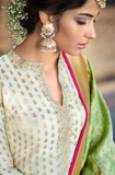 Off White & Pink Designer Embroidered Jacquard Palazzo Suit-Saira's Boutique
