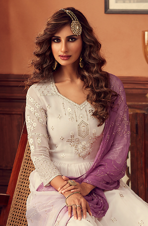 Off White & Purple Designer Embroidered Georgette Sharara Suit-Saira's Boutique