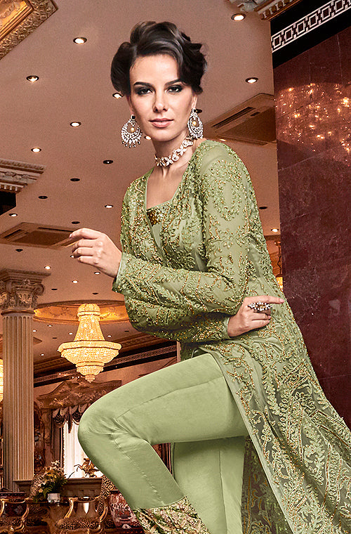 Olive Green Designer Embroidered Lehenga Style Bridal Anarkali Suit-Saira's Boutique