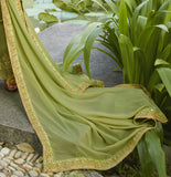 Olive Green Designer Embroidered Party Wear Palazzo Suit-Saira's Boutique