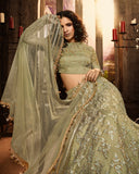 Olive Green Designer Heavy Embroidered Net Wedding & Bridal Lehenga-Saira's Boutique