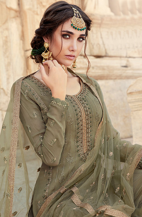 Olive Heather Designer Embroidered Georgette Sharara Suit-Saira's Boutique