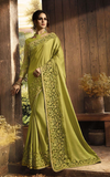 Olive Green Designer Embroidered Fancy Party Wear Saree-Saira's Boutique