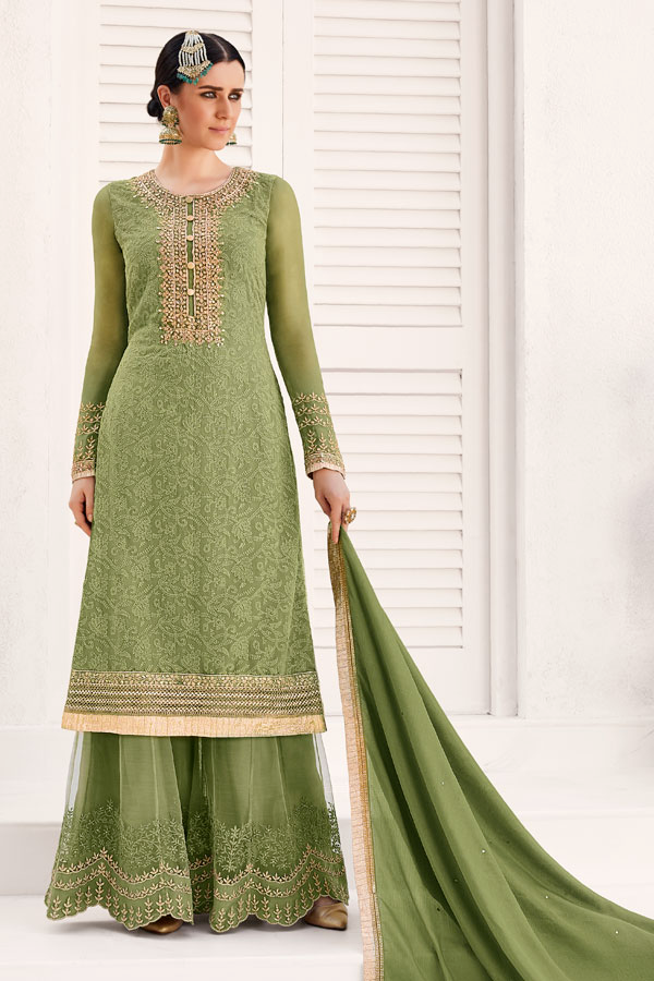 Olive Green Designer Embroidered Georgette Straight Palazzo Suit-Saira's Boutique