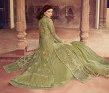 Olive Green Designer Embroidered Lehenga Style Net Anarkali Suit-Saira's Boutique