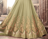 Olive Green Designer Embroidered Net Party Wear Anarkali Suit