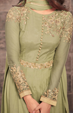 Olive Green Designer Embroidered Net Party Wear Anarkali Suit-Saira's Boutique