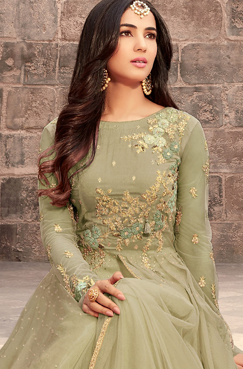 Olive Green Designer Embroidered Net Wedding Anarkali Suit