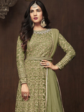 Olive Green Designer Embroidered Net Wedding Bridal Anarkali Suit-Saira's Boutique