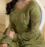 Olive Green Designer Embroidered Satin Georgette Gharara Suit-Saira's Boutique