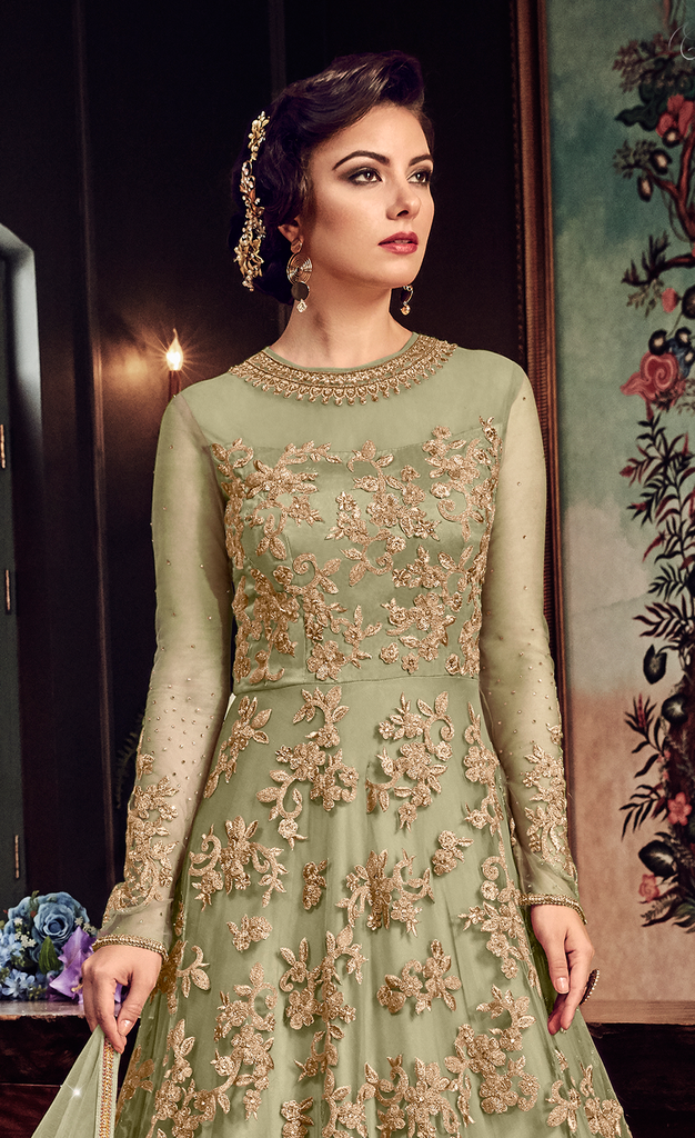 Olive Green Designer Heavy Embroidered Net Bridal Anarkali Gown-Saira's Boutique
