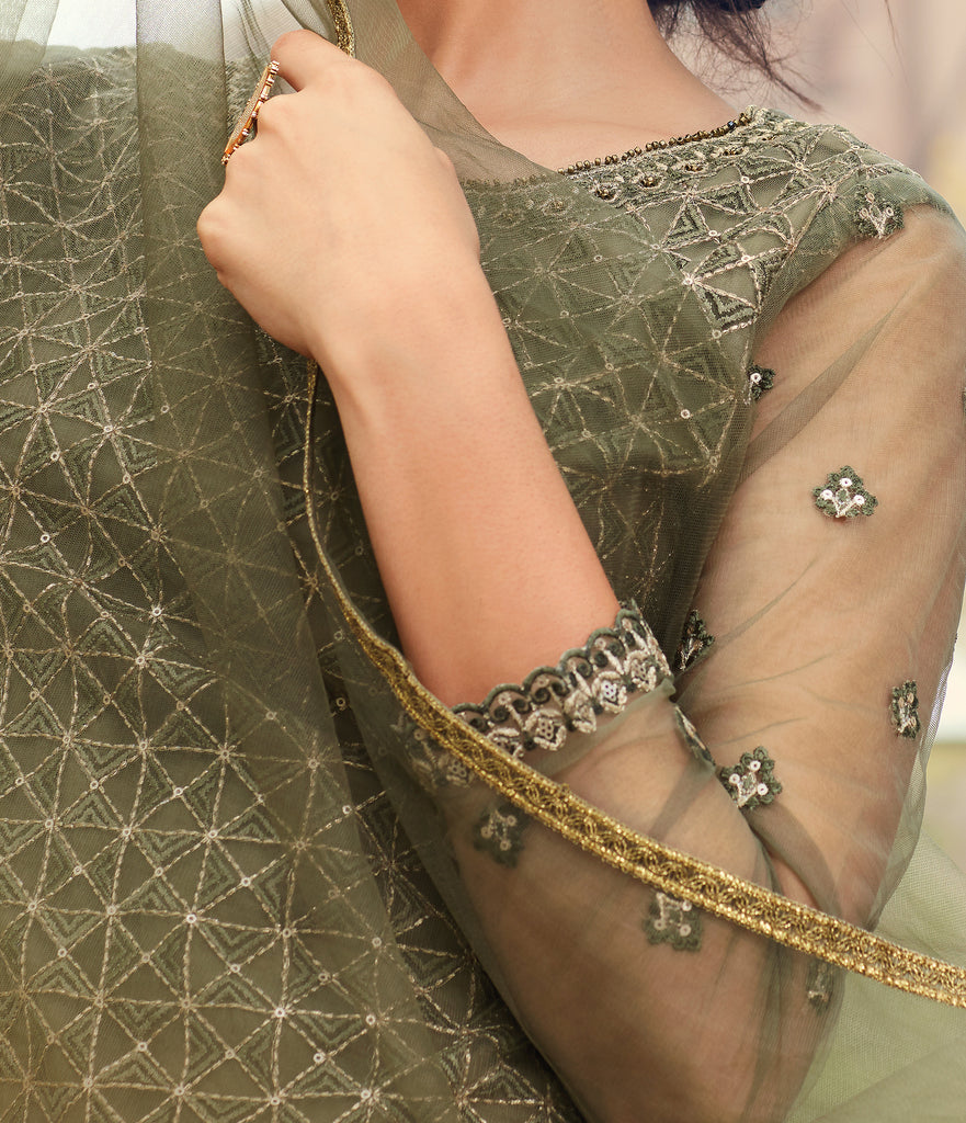 Olive Green Designer Heavy Embroidered Net Gharara Suit-Saira's Boutique