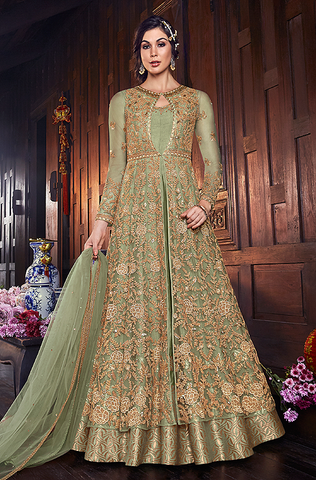 Light Brown Designer Embroidered Satin Bridal Anarkali Gown