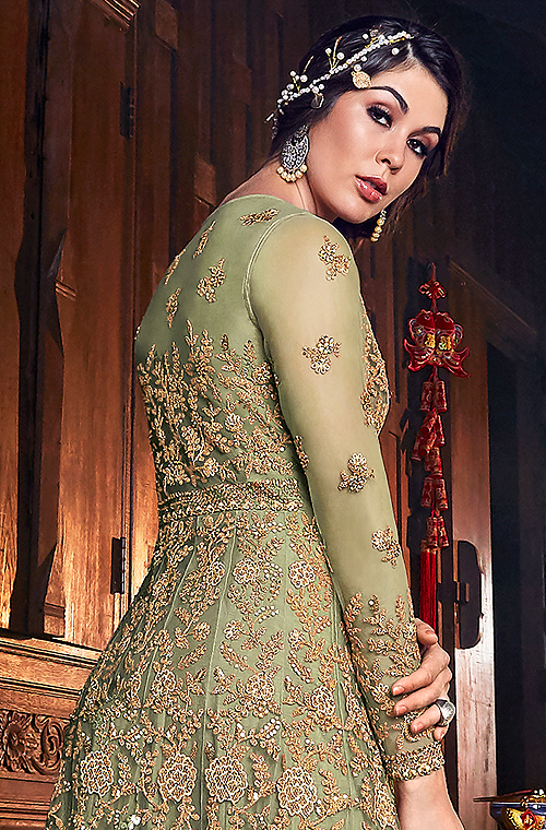 Olive Green & Gold Designer Embroidered Silk Bridal Anarkali Gown-Saira's Boutique
