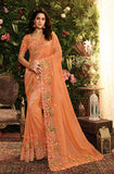 Orange Designer Embroidered Viscose Tissue Party Wear Saree-Saira's Boutique