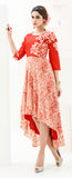Orange Designer Embroidered Rayon & Silk Indo-Western Dress