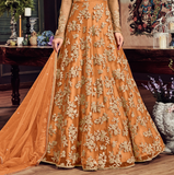 Orange Designer Heavy Embroidered Net Bridal Anarkali Gown