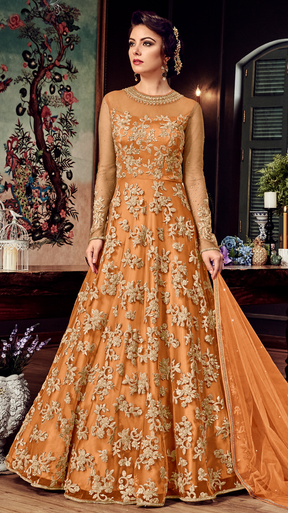Orange Designer Heavy Embroidered Net Bridal Anarkali Gown-Saira's Boutique
