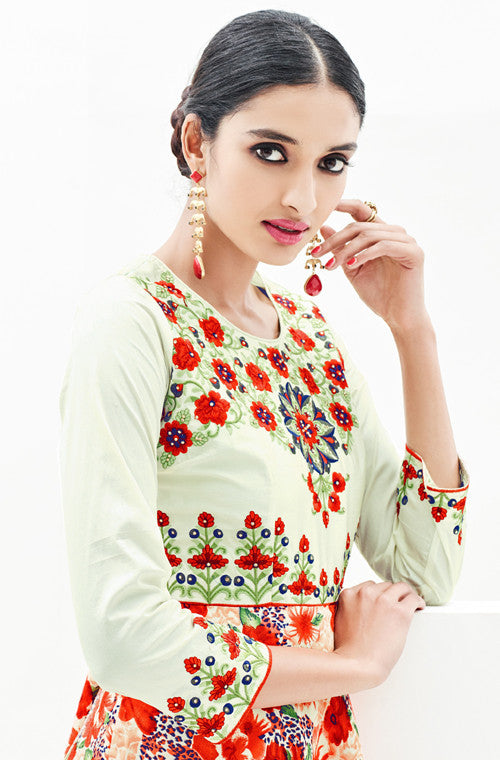 Orange & Pastel Green Designer Embroidered Georgette Satin Indo-Western Dress