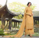 Pale Mustard Designer Embroidered Party Wear Palazzo Suit-Saira's Boutique