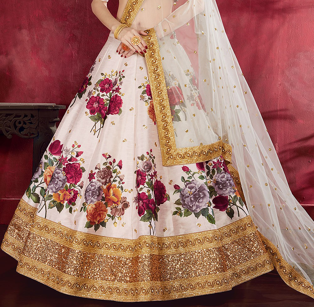 Pale Pink Designer Embroidered Silk Floral Print Lehenga Choli-Saira's Boutique