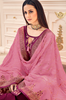 Pansy Purple & Blush Pink Designer Embroidered Silk Jacquard Palazzo Suit-Saira's Boutique
