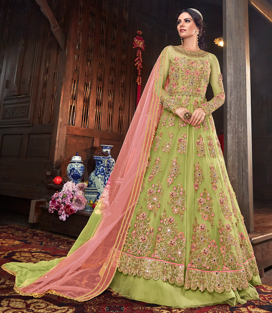 Parrot Green & Pink Designer Heavy Embroidered Bridal Anarkali Gown-Saira's Boutique