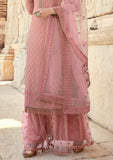 Pastel Pink Designer Embroidered Georgette Sharara Suit-Saira's Boutique